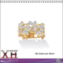 Guang Zhou Factory Wholesale Jewelry Silver Diamond Accent Butterfly Ring