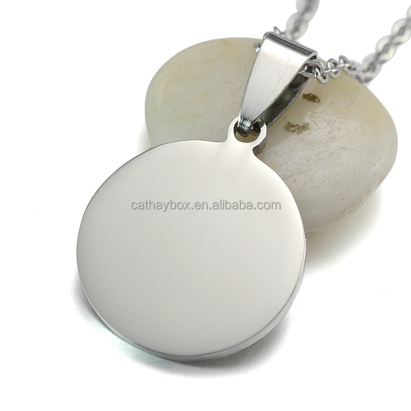 High Polished Silver Tone Stainless Steel 2.0CM Blank Round Dog Tag Charm <strong>Pendant</strong>