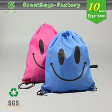 210D Polyester Kids Promotional wholesale drawstring plastic gift bag shopping