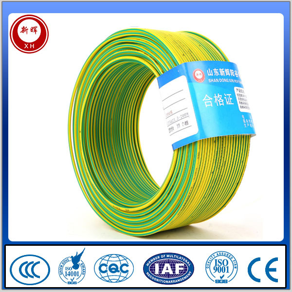 Yellow green grounding cable / earth wire / earth cable