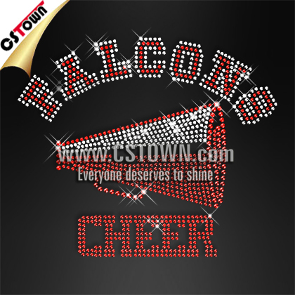 Custom logo falcons cheer motif rhinestone transfers iron on