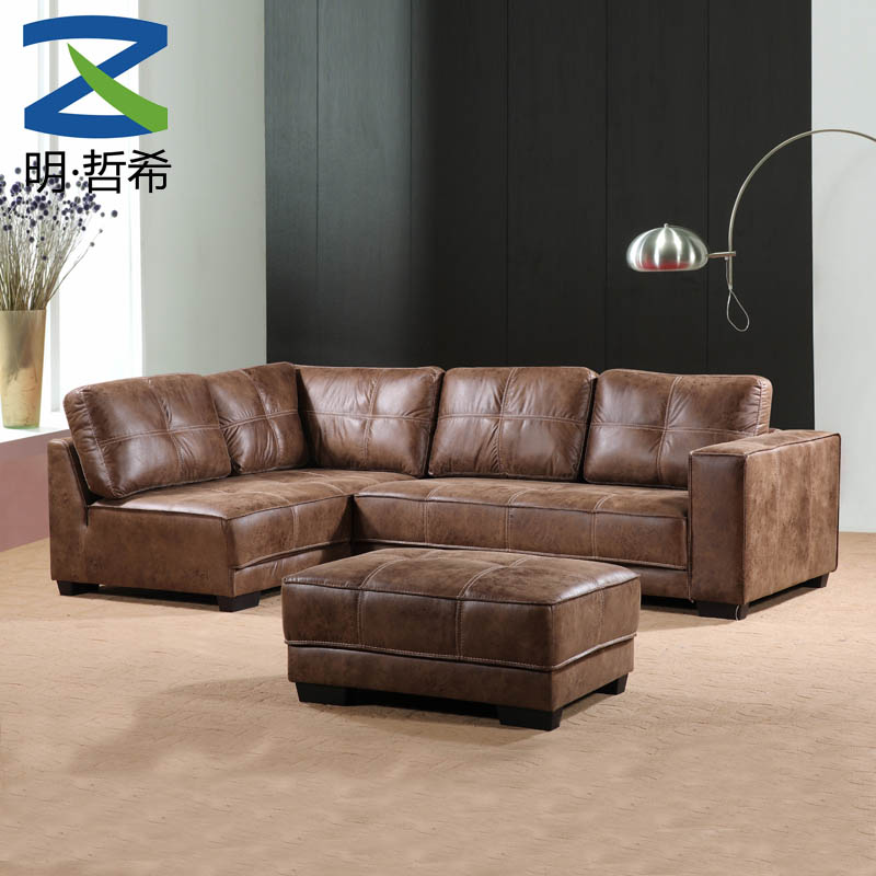 modern free sample high quality china bedroom furniture 4 seater sofa with footrest