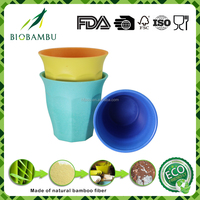 Natural unbreakable disposable bamboo tea cups and saucers