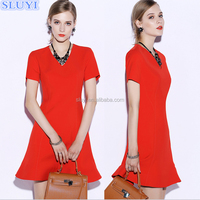 Fashion wholesale womens clothes high quality vintage short sleeve sexy v neck women red dresses evening party prom dress