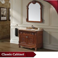 HS-A821 tall mirrored meuble small de bain bathroom cabinet with basin in foshan