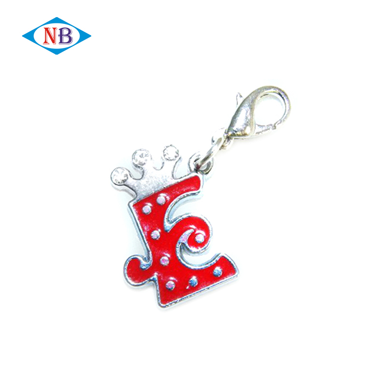 Cheap custom rhinestone soft enamel metal alphabet keychain