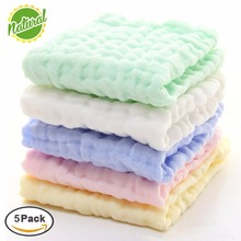Premium Soft Natural 100% Organic Cotton 6 layer Newborn Baby Muslin Washcloths and Towels