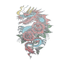 Factory Direct Sale Dragon Rhinestone Heat Transfer Design