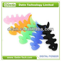 wholesale colorful fish bone silicon earphone cable holder/cable holder organizer