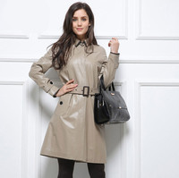 Hot style real sheep skin Jacket made overcoat women long leather coat