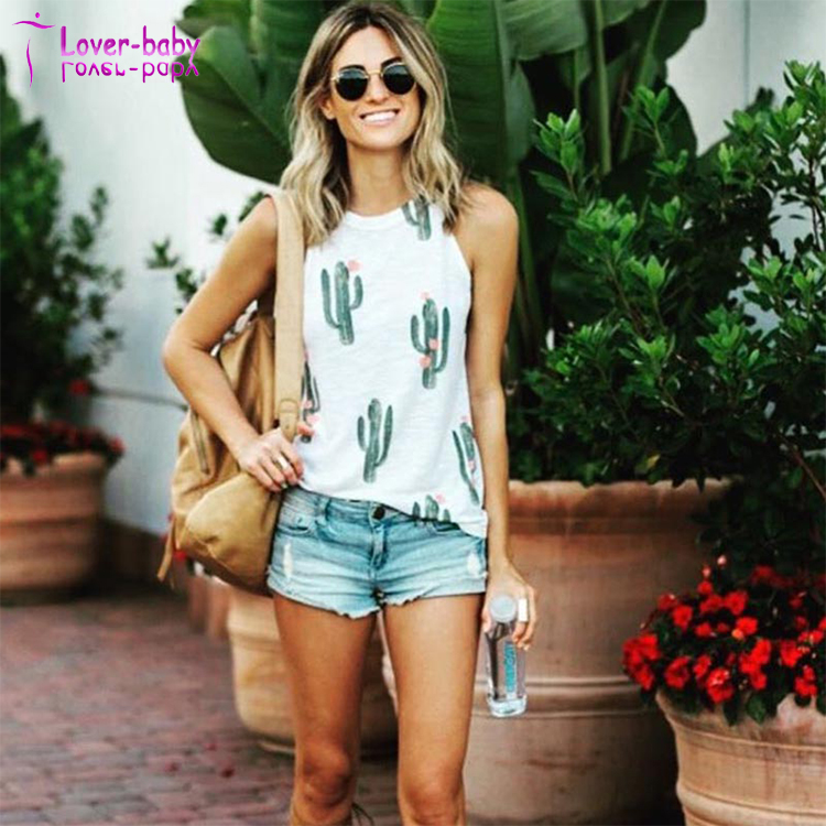 Women Sleeveless Print Cactus Tank Casual Blouse T <strong>Shirt</strong> L597-1