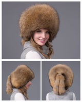 New Style Natural Color Wholesale Fashion Fox Fur Custom Russian Winter Hat