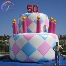 high quality customized giant inflatable birthday cake model for advertising