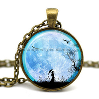 Full moon and bird Time Gem Jewelry Necklace Glass Cabochon Necklace DIY Jewelry photo glass dome jewelry