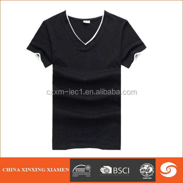 Wholesale 100% Cotton black V-neck T-shirt With Your Own Logo And Label