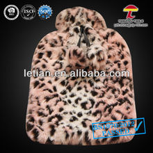 animal skin flecks hot water bottle faux fur covers with pompons