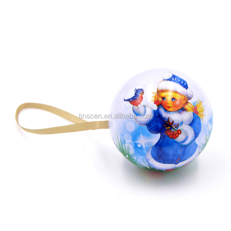 Colorful Christmas Tin plate Ball Ornaments Metal Fashion Gift Christmas Decorations for Trees with Ribbon