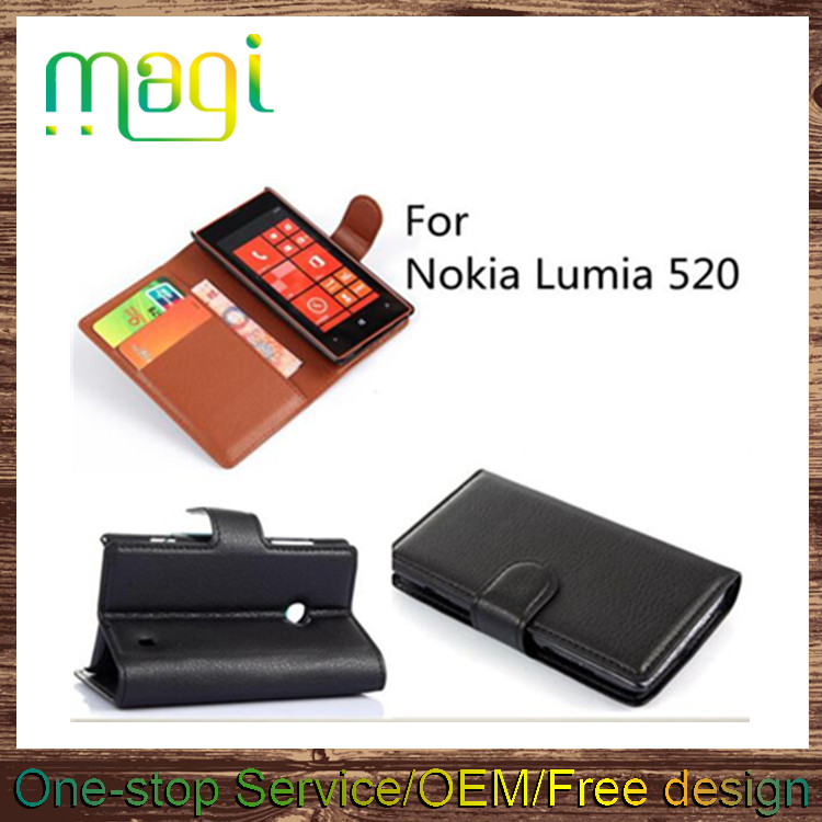 Standing Leather Phone Case for Nokia Lumia 520 Wallet Flip Cover with Card Slots