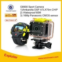 G8900 Sport dv Action Camera IPX8 60M Waterproof 16.0MP DVR with Ambarella A7 FHD 1080P 60FPS WIFI