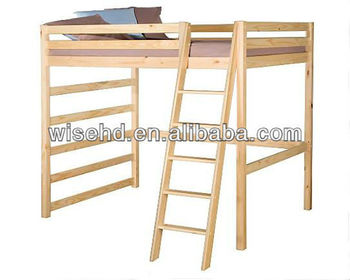( WJZ-B33) solid pine wood high sleeper bed