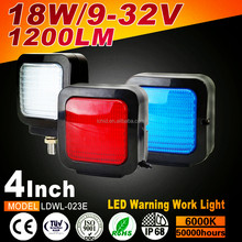 Waterproof high power 18W 4inch 1200lm Square Warning Spot multifunctional led work light