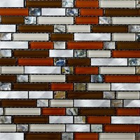 strip shape glass mosaic, glass mix stainless steel mosaic tile (PMSL02)