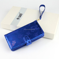 Wholesale high quality blue custom leather mobile cell phone case