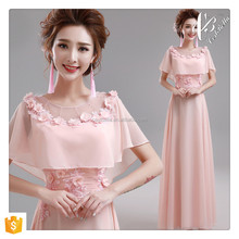 European Style Dresses for Elegant Women Pink Evening Dress Party Dress with Floral Belt