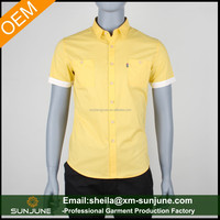 Short sleeve yellow colour shirts for men with double pockets
