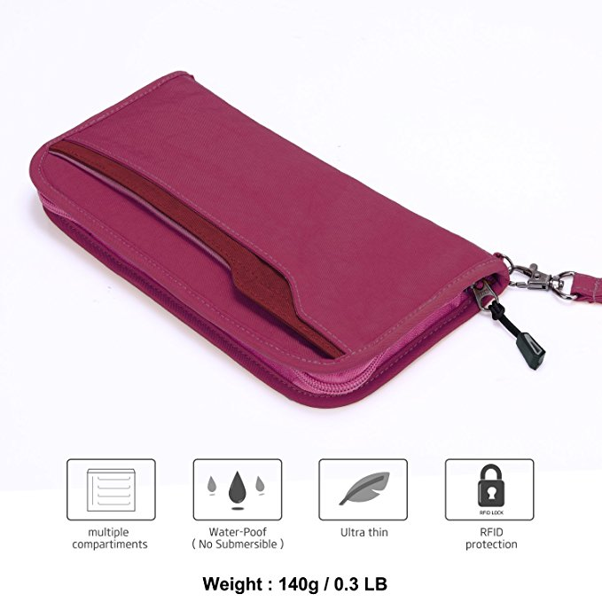 Multi-functional waterproof nylon travel passport holder passport holder case bag with keychain