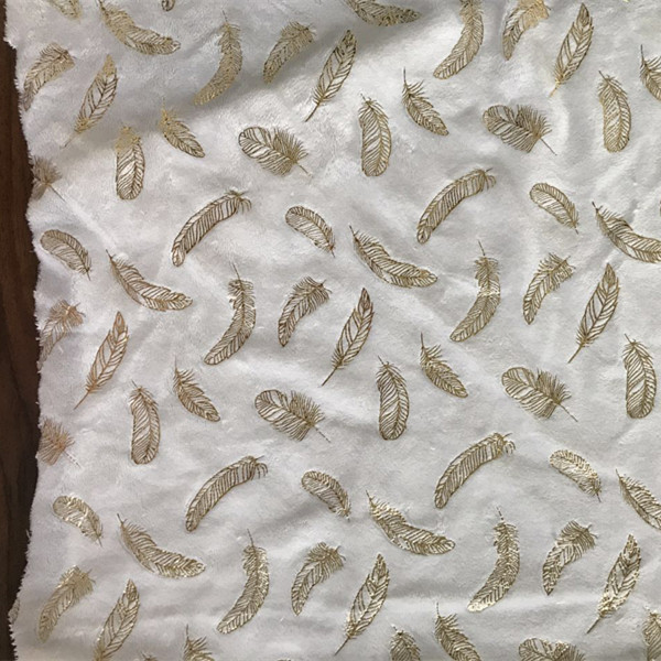 white flannel fabric with feather gilding patterns