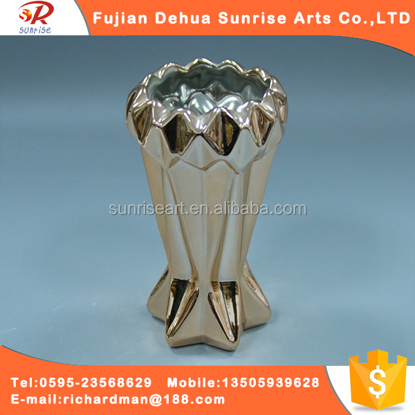 Wholesale gold plated ceramic craft flower electroplating vase