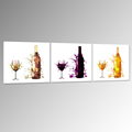 Abstract Wine Bottle Painting Modern Triptych Canvas Art for Decor