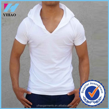 Yihao Men's plain white fashion hoody V-neck t-shirt fit gym muscle tee mens clothing
