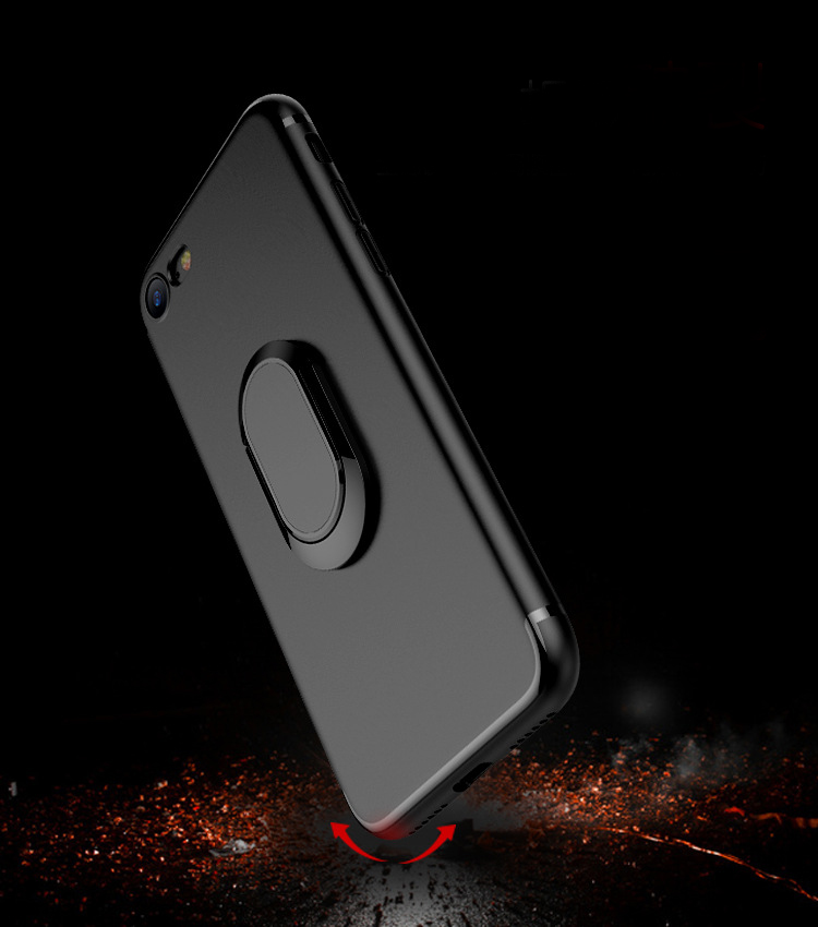 TPU Gel Protector 360 Rotating Ring Kickstand Phone Matte Case for iPhone 5 6 6 Plus 7 7 Plus