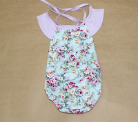 Latest Fashionable Summer Korea Baby Jumpsuits Girls Clothes Flower Printed Kids Rompers