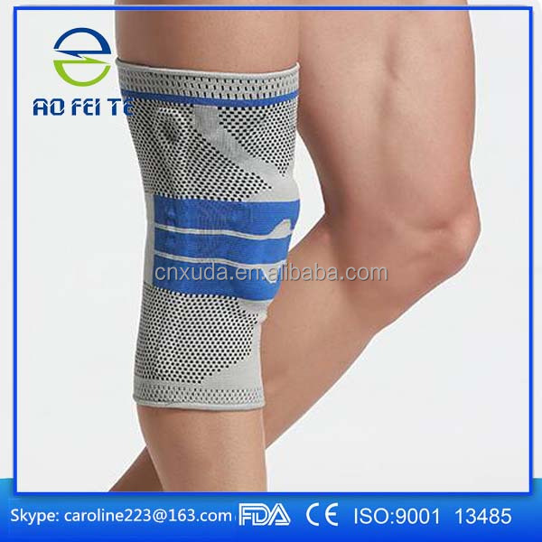 FDA CE approved knee compression sleeve support with silicone ring