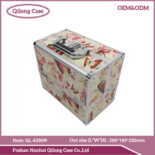 High Quality Aluminum Finish large Cosmetic Case / Makeup Box In Black