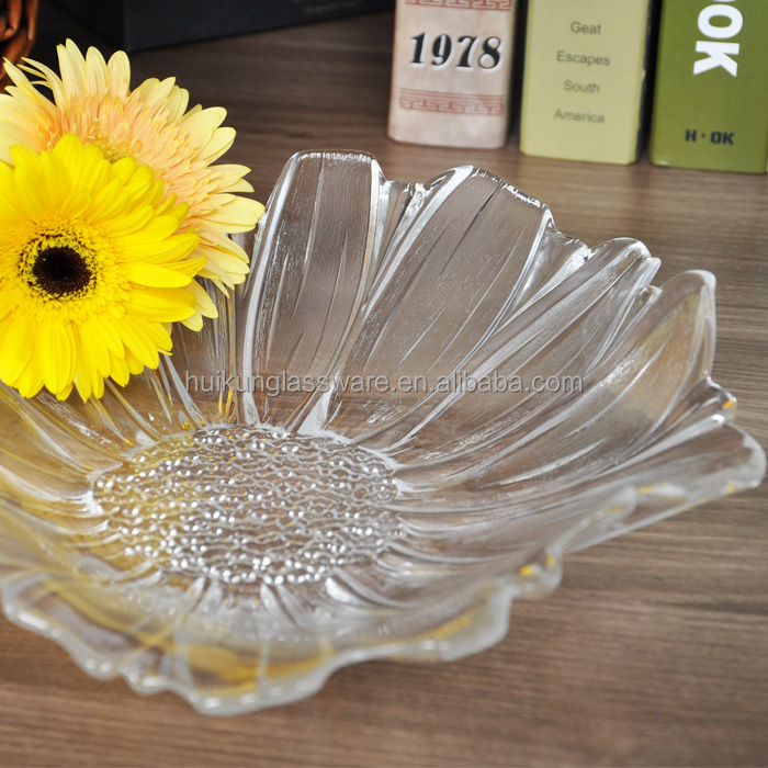 Unique High Quality Clear Glass Flower Shape Friut Plate or Friut Bowl