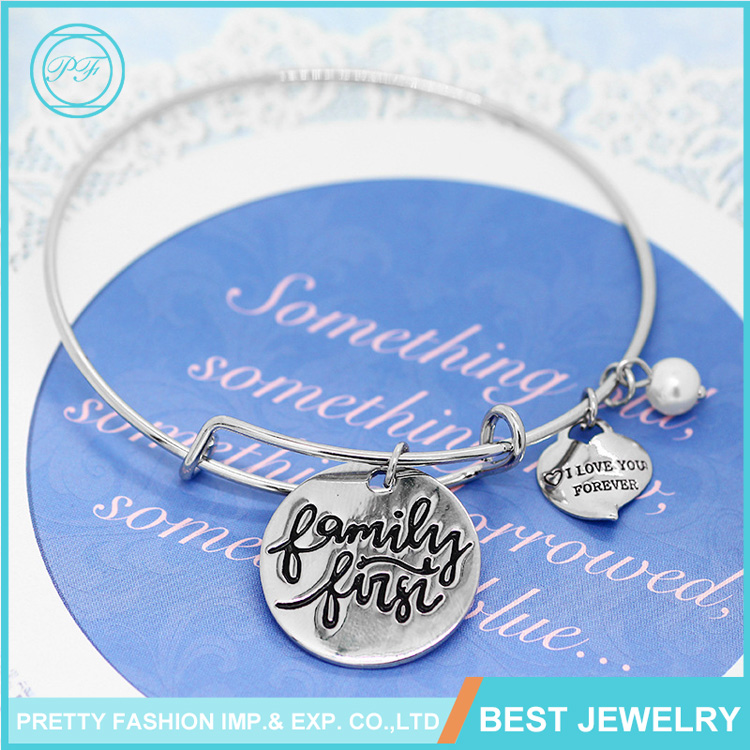 2016 Fashion Alloy Jewelry Bracelet Write Name I Love You Forever Bracelet For Girls
