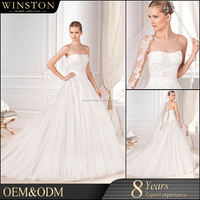 OEM ODM customized lace wedding dress illusion a line
