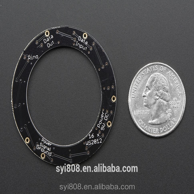 Ring- <strong>16</strong> x 5050 SK6812 RGBW LED Black Module <strong>w</strong>/ Integrated Drivers- Natural White - 4500K