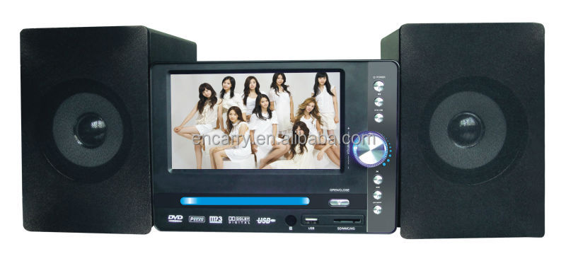 2.0 Bluetooth Speaker CD DVD Combo System with 7in LCD Display