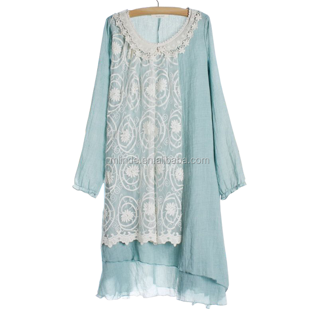 Wholesale Latest Fashion Blank Linen Gauze Cotton One Size Fit All Long Sleeve Crochet Lace Panel Woman Tunic Dress