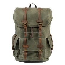 European and American men's oil wax canvas retro outdoor travel laptop bag large capacity backpack canvas vintage