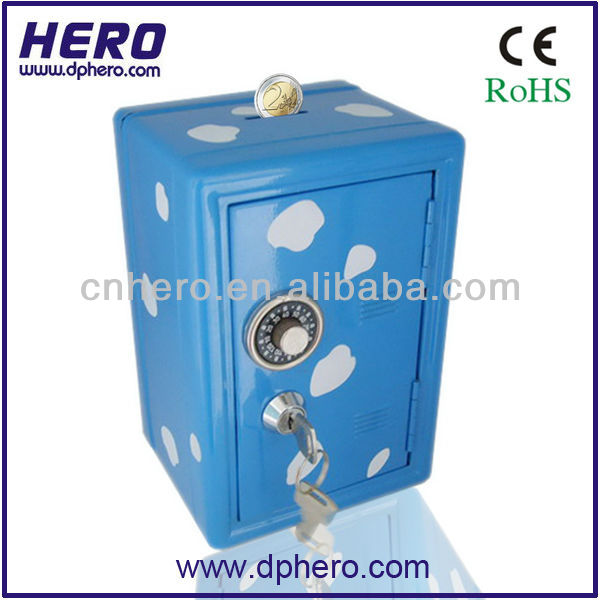 Lockable metal coin bank savings account