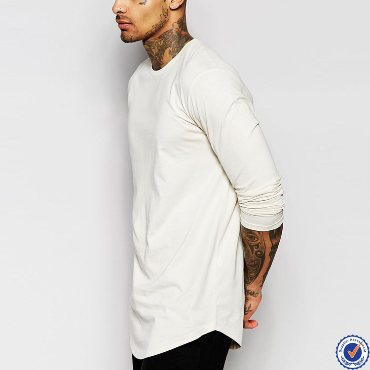 online shopping india 100% cotton long sleeve curved hem longline tshirt