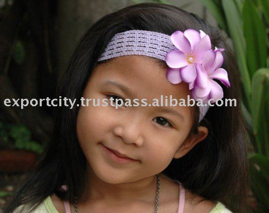 Children and girls headband hair band (plumeria pearl)