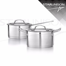 Stainless steel cookware set sauce pan stock pot elegant design glass lid thick capsule bottom