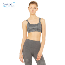 Wholesale Polyester Double Strap Irregular Ray Metal Texture Padded Sports Bra